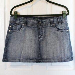 Hydraulic Denim Mini Skirt